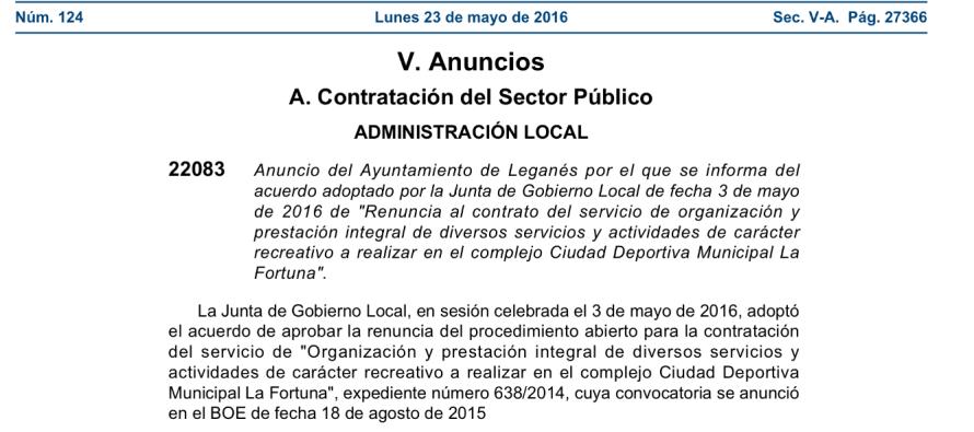 El Partido Popular denunciará la renuncia de los pliegos de la Instalación Deportiva de la Fortuna y el de Inspección Fiscal de Leganés