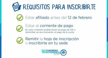 Información importante para afiliados. Participación en el 16º Congreso Autonómico del PP de Madrid