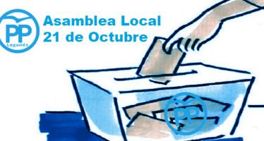 Se convoca la Asamblea Local del Partido Popular de Leganés para el 21 de Octubre