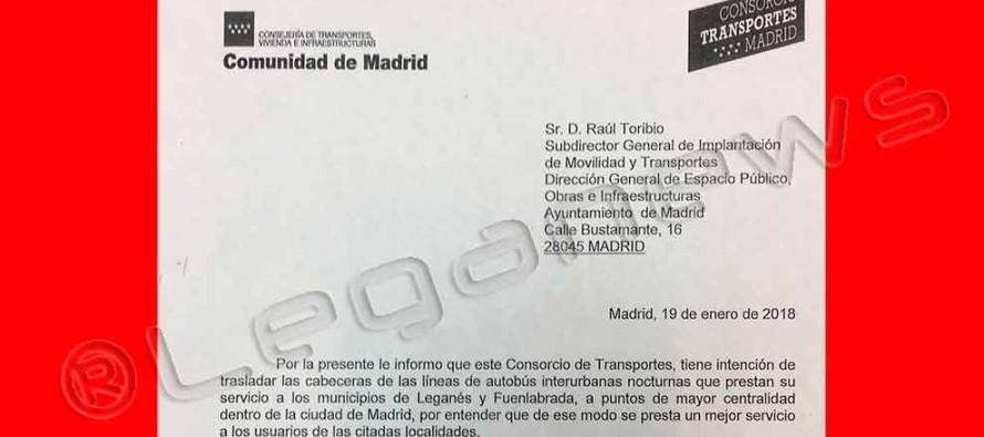 La CAM ya ha pedido al Ayuntamiento de Madrid que autorice cabeceras del 'Búho' a Leganés en Atocha y Príncipe Pío