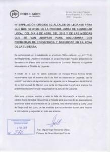 Interpelación Alcalde sobre inseguridad en La Cubierta