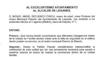 El Partido Popular solicita el traslado de la Unidad de Familia ante la situación de descontrol que hay en la Concejalía de Asuntos Sociales