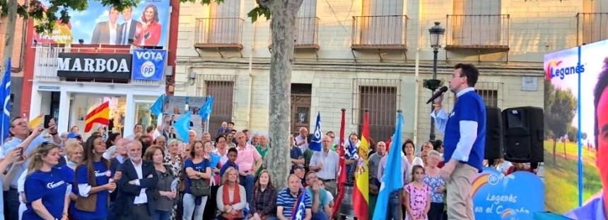 Recuenco pide el voto para convertir Leganés en una ciudad alegre y  próspera